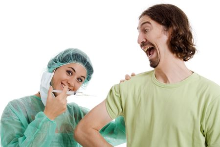 nurse and man with a injection white isolate photo