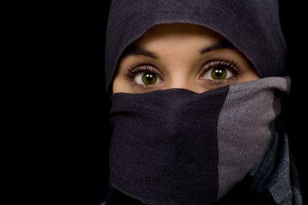 arabian young beautiful green eyed woman photo