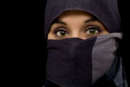 arabian young beautiful green eyed woman photo
