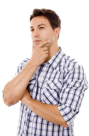young man casual thinking expression photo