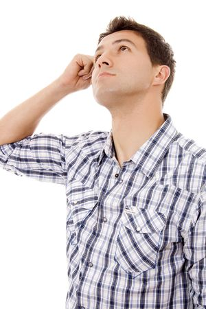 young man casual thinking expression Stock Photo