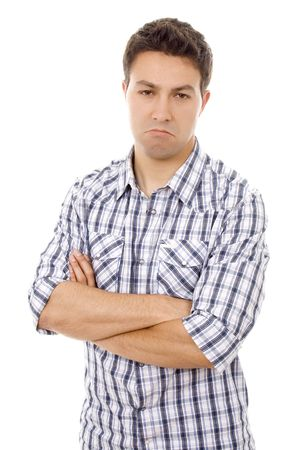 young man casual sad expression Stock Photo
