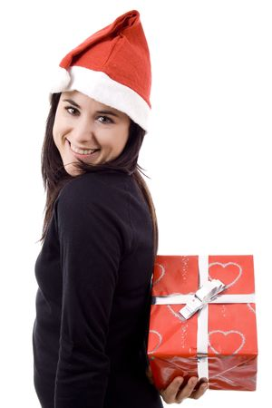 Young beautiful woman with noel hat white isolate Stock Photo