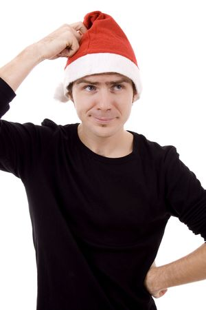 Young beautiful man with noel hat white isolate Stock Photo