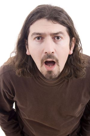 man close face on a funny expression Stock Photo