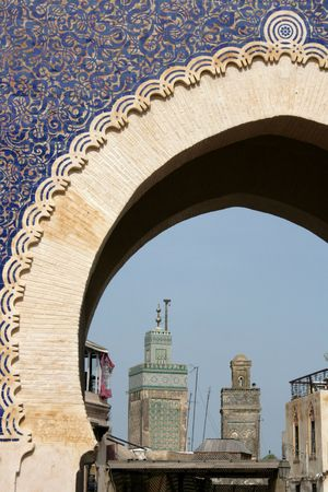 bab: main blue gate in morocco