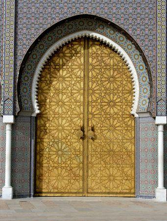 moorish: main golden gates of royal palace in marrakesh