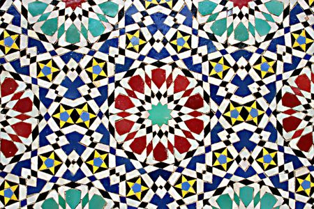 moorish: details of mosaic wall in marrakesh
