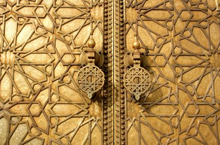 fes: main golden gates of royal palace in marrakesh, morocco Stock Photo