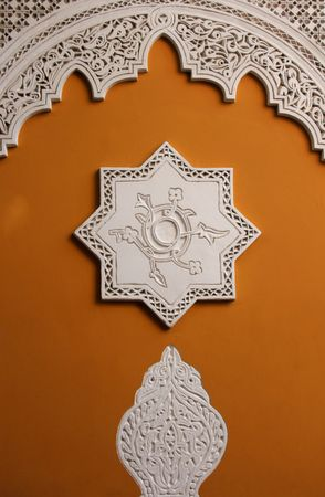typicall morocco decorated wall in marrakech