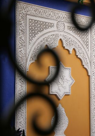 typicall morocco decorated wall in marrakech photo