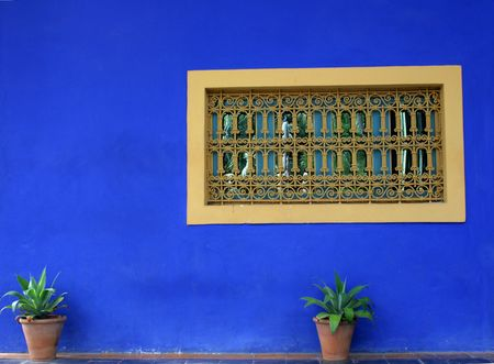 typicall morocco decorated window in marrakech Stock Photo