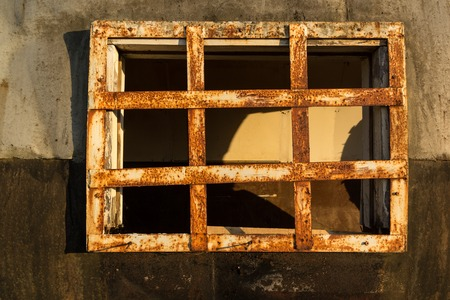 lattice window: iron bars on the window Stock Photo