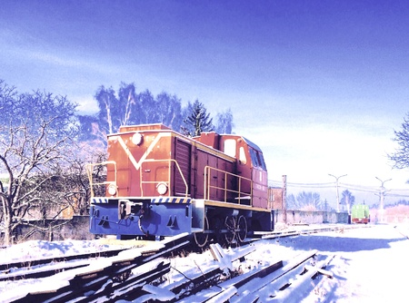 rails: A locomotive at snow rails