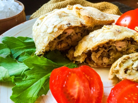 strudel: Strudel with mushrooms Stock Photo