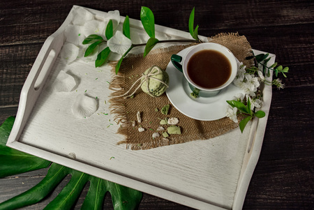 living room interior: A cup of coffee on a white tray with branch of blossomed cherry and monstera leaf Stock Photo