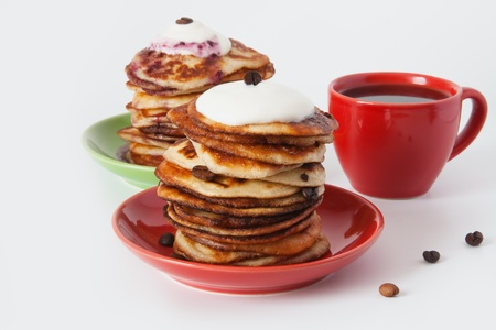 Pancakes and coffee for breakfast
