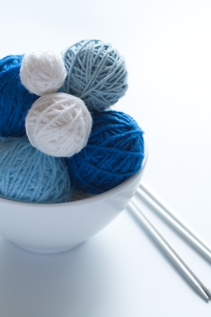 Colored balls of wool for knitting and needles  Stock Photo - 9629177