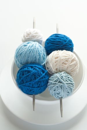 Colored balls of wool for knitting and needles