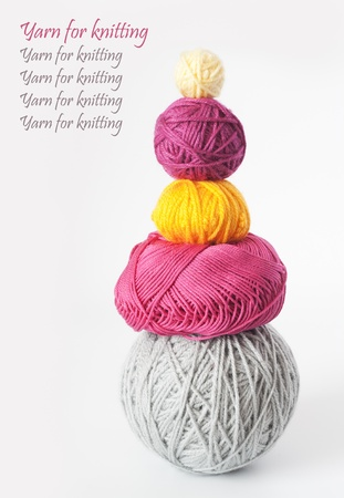 Bright balls of yarn for knitting and your text