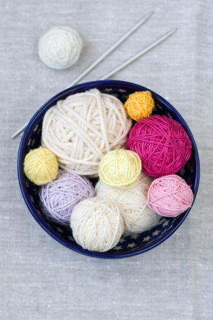 hobie:  Bright balls of yarn and knitting needles on a plate Stock Photo