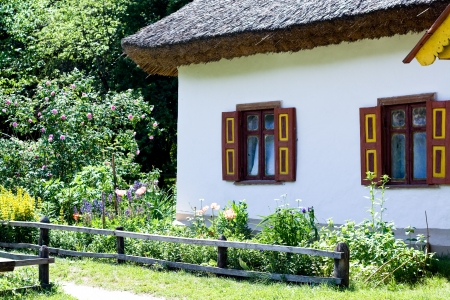 An old Ukrainian rural hut and flowerbed photo