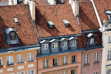 Detail of the restored old houses in the Warsaw, Poland  photo