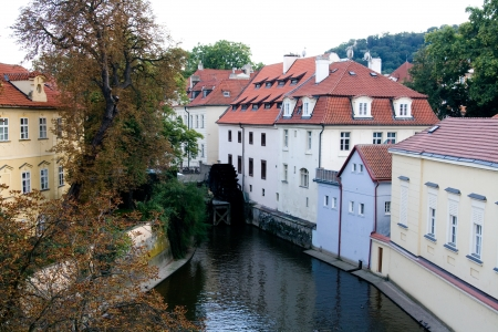 Old building with a slate roof and a river, Prague, Czech Republic  photo