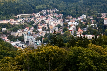 karlovy vary: The town of Karlovy Vary with height, Czech Republic