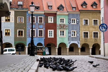 Funny buildings on Market Square in Poznan, Poland, Europe