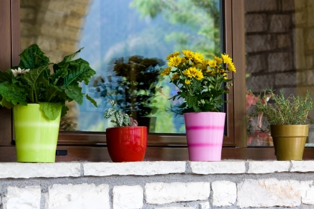 windowsill: Multi-colored flower pots on the windowsill Stock Photo