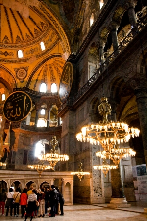 patriarchal: ISTANBUL - November 21  Decorative interior of the Hagia Sofia Mosque Sophia on November 21, 2013 in Istanbul,Turkey  Hagia Sophia is former Orthodox patriarchal basilica, later a mosque and now a museum