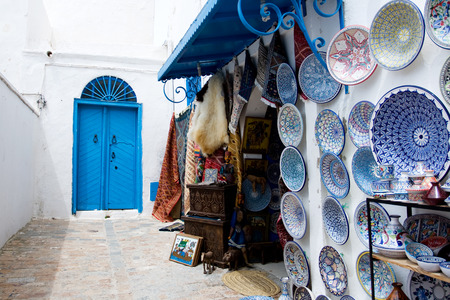 sidi bou said: Market traditional souvenirs on the streets of Sidi Bou Said, Tunisia Editorial