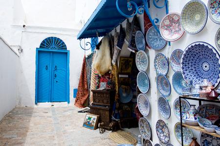 Market traditional souvenirs on the streets of Sidi Bou Said, Tunisia