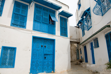 sidi bou said: Blue doors, window and white wall of building in Sidi Bou Said, Tunisia