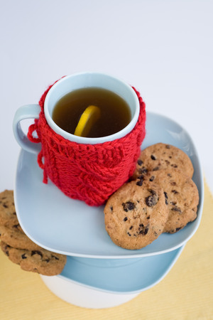 Blue cup with red knitted cover and cookies with chocolate photo