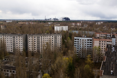 pripyat: View from roof of 16-storied apartment house in Pripyat town, Chernobyl Nuclear Power Plant Zone of Alienation, Ukraine