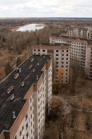 chernobyl: View from roof of 16-storied apartment house in Pripyat town, Chernobyl Nuclear Power Plant Zone of Alienation, Ukraine