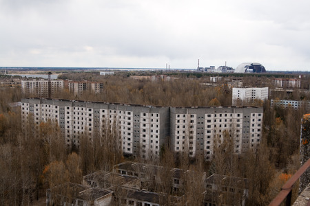 storied: View from roof of 16-storied apartment house in Pripyat town, Chernobyl Nuclear Power Plant Zone of Alienation, Ukraine