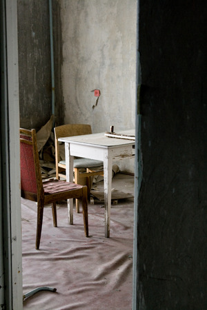 The interior of one of the apartments in multistory abandoned in Pripyat ghost town, Chernobyl Nuclear Power Plant Zone of Alienation, Ukraine
