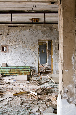 The interior of the Palace of Culture in the main square in Pripyat ghost town, Chernobyl Nuclear Power Plant Zone of Alienation, Ukraine photo