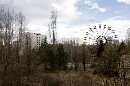 chernobyl: Ferris wheel in Pripyat ghost town, Chernobyl Nuclear Power Plant Zone of Alienation, Ukraine Stock Photo