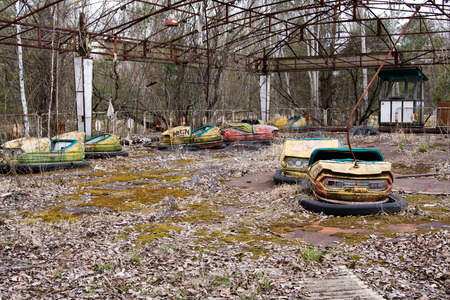 Abandoned amusement park in Pripyat ghost town, Chernobyl Nuclear Power Plant Zone of Alienation, Ukraine Banco de Imagens