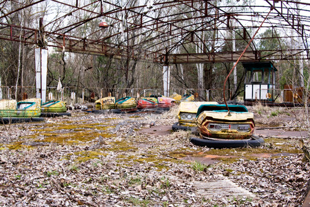 pripyat: Abandoned amusement park in Pripyat ghost town, Chernobyl Nuclear Power Plant Zone of Alienation, Ukraine Stock Photo