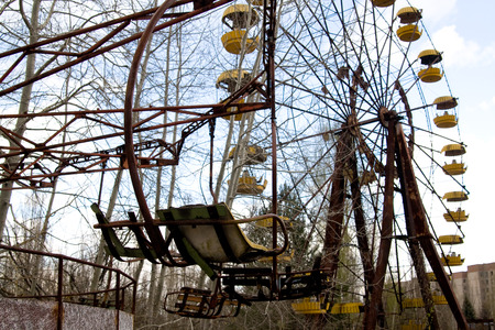 Ferris wheel in Pripyat ghost town, Chernobyl Nuclear Power Plant Zone of Alienation, Ukraine Stock Photo