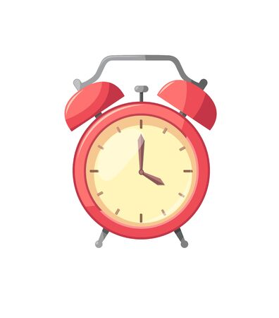 Alarm clock red isolated on white background in flat style illustration