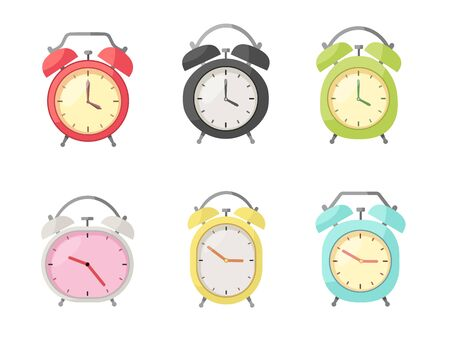Set of Alarm clock in flat style
