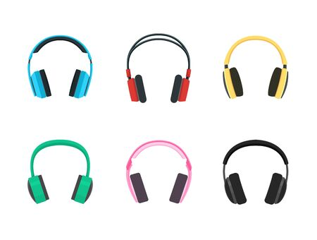 Set of Headphone Icon. Flat style design