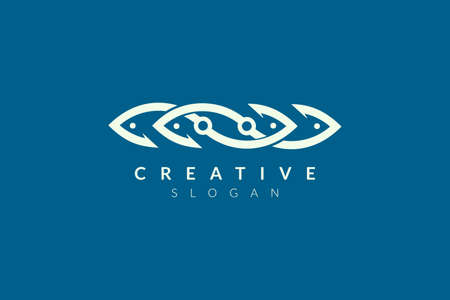 Abstract minimalist fish shape vector design. Simple fish design, flat logo style, modern icon and symbol Illusztráció