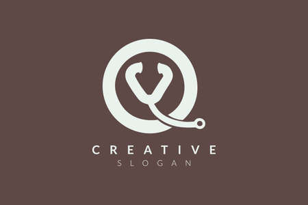 The logo design combines the stethoscope with a circle. Minimalist and modern vector design suitable for products and businesses in the health sector